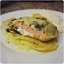 Salmone al Cartoccio - Foil-Baked Salmon with Potato - International Cooking Blog