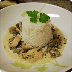Chicken with Mushroom Cream and Basmati Rice - International Cooking Blog