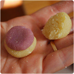 Double Color Marzipan Balls - International Cooking Blog