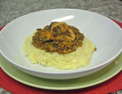 cheese polenta with lentils - international cooking blog